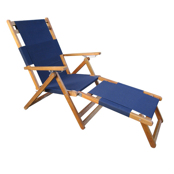 PATIOFLARE PORTABLE LOUNGE CHAIR WITH LEG REST, BLUE