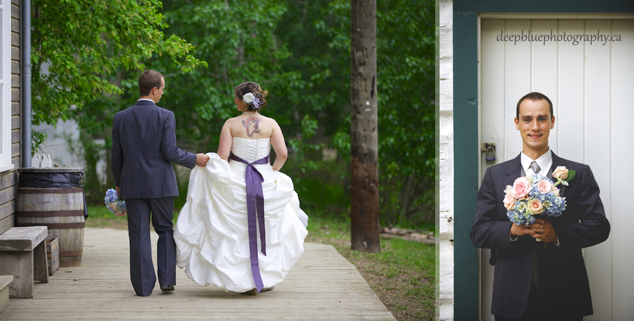 Groom with Flowers and Holding the Dress