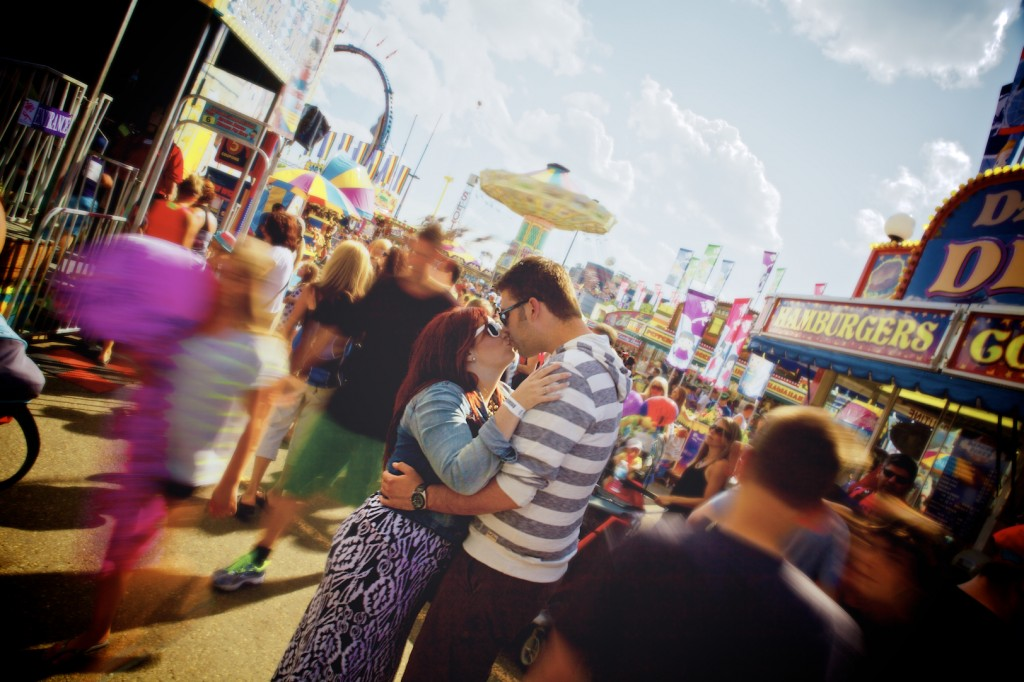 A picture in the guide for Preparing for Engagement Photos - K Days Engagement picture in Edmonton at the fairgrounds.