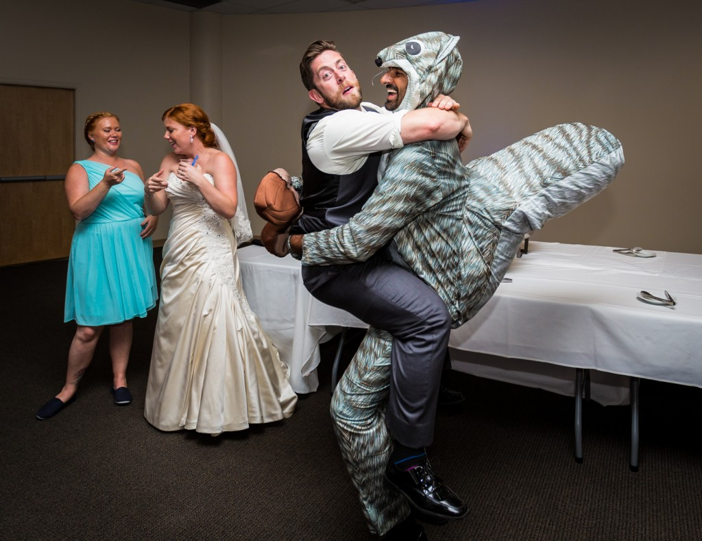 Wedding Photo with Squirrel Suit