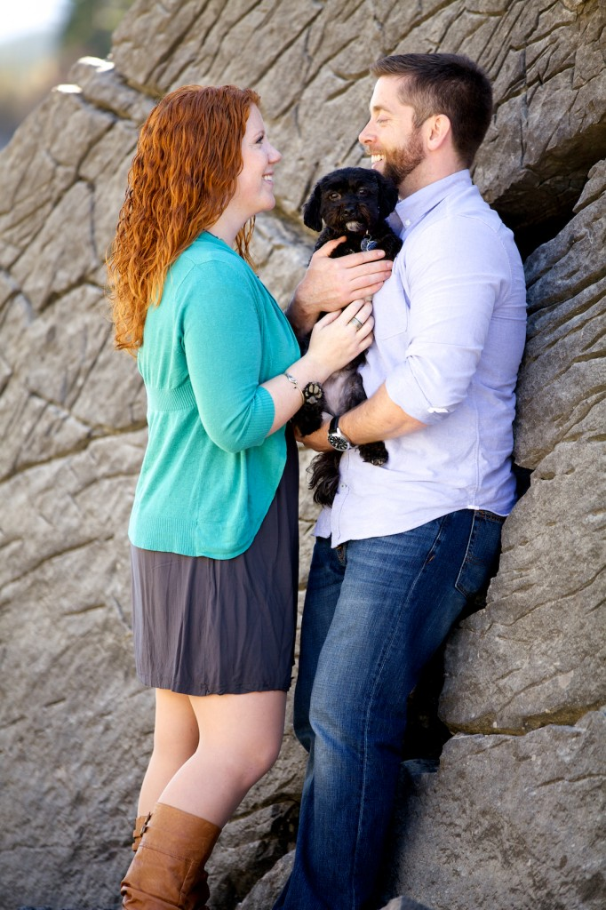 Mountain Engagement Pictures In Jasper With A Dog