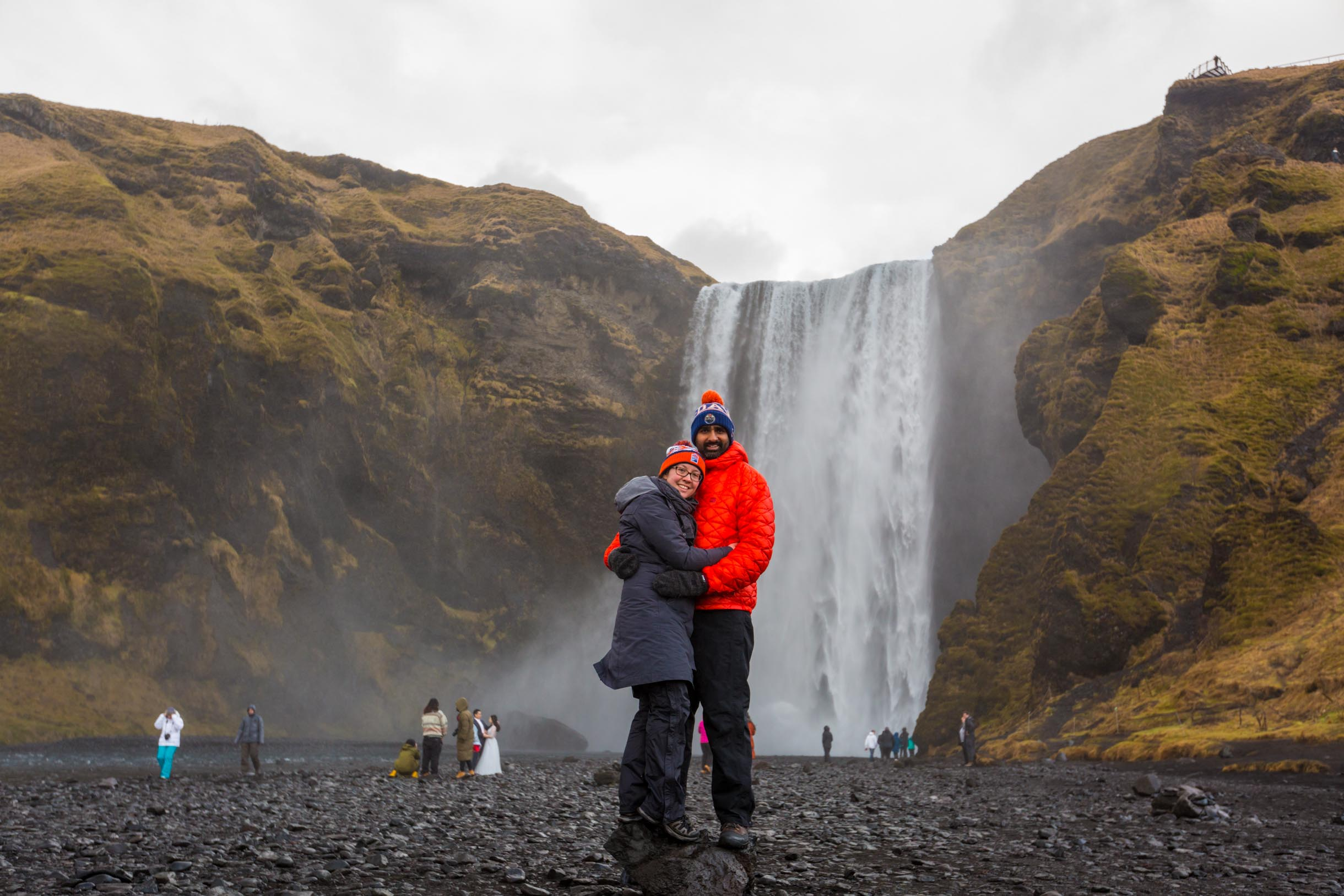 A picture of the waterfall in iceland skogafoss while we were checking out the Southern Iceland Waterfalls