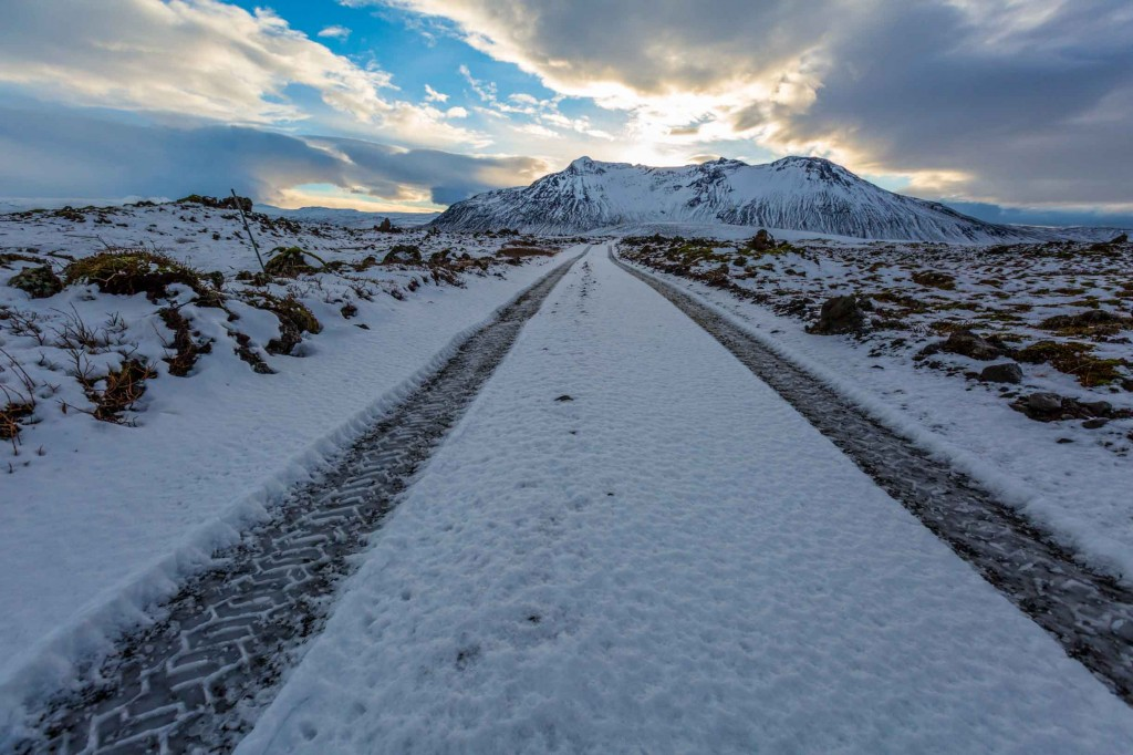 picture of icy road while winter driving in Iceland