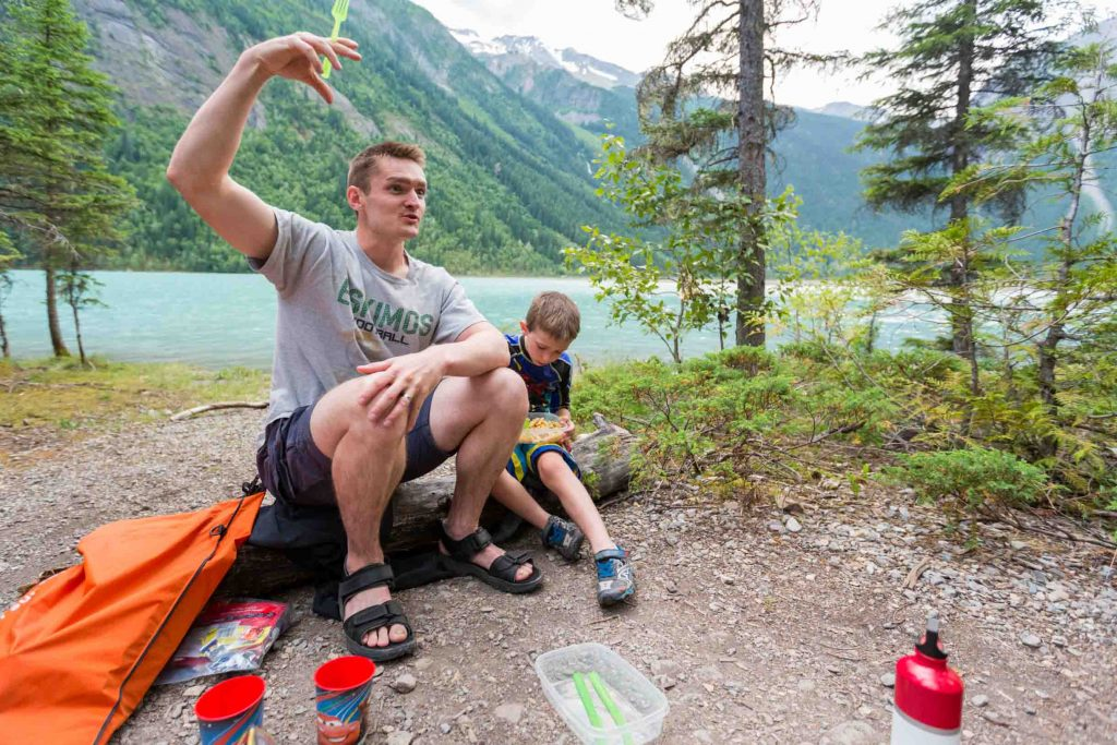 Cooking a meal after backpacking with kids