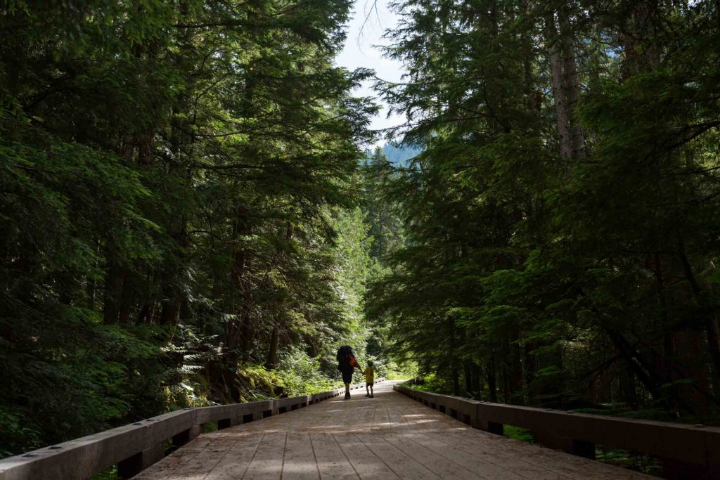 father backpacking with kids to Kinney Lake in Mount Robson