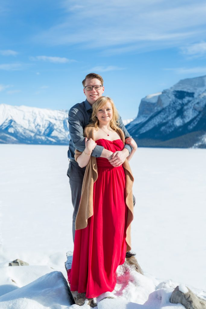 morning mountain engagement session in banff
