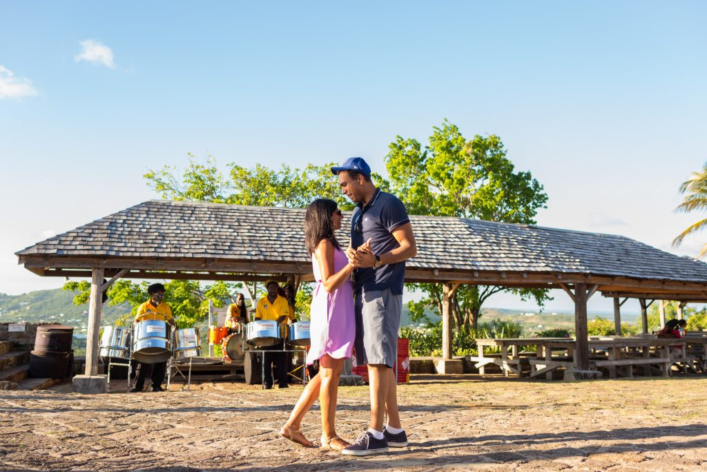 Private wedding reception event held at Shirley Heights in Antigua