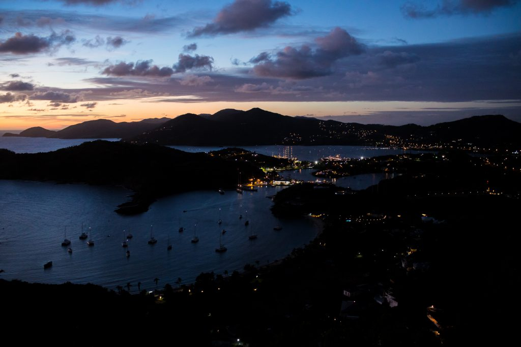 Night time skies over looking Shirley Heights and Antigua