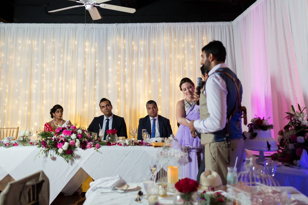 Brother of the bride's toast to his sister during her destination wedding in Antigua