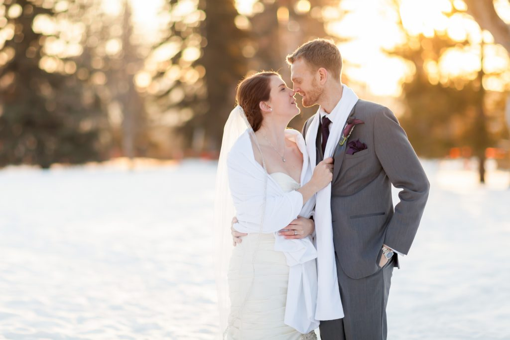 A picture of a couple showing the benefits of planning a winter wedding