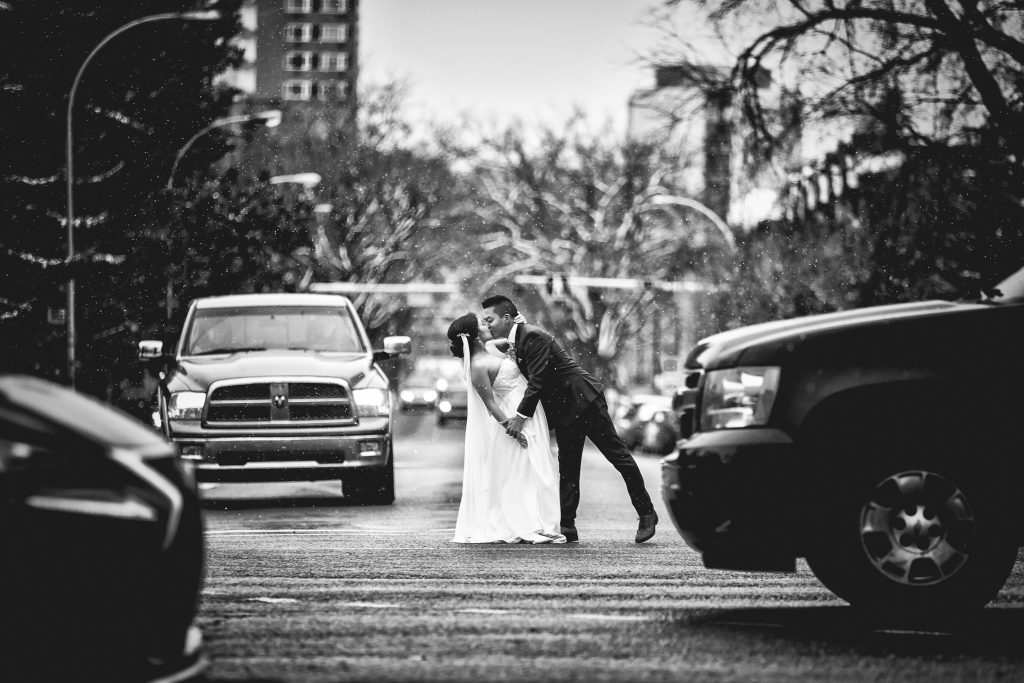 Winter wedding picture with snow