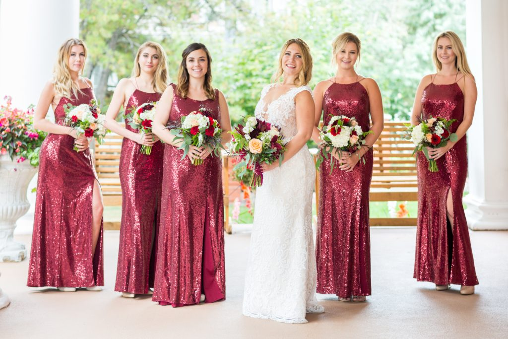 red and ivory wedding party dresses