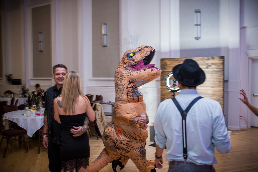 inflatable trex at wedding