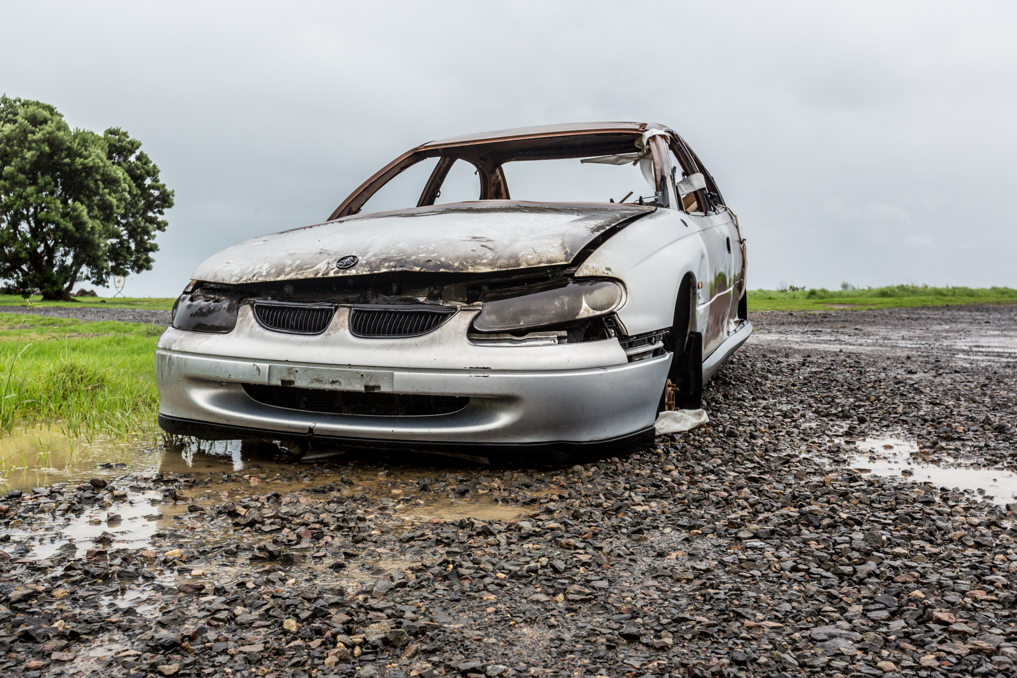 Burnt Out Car While Driving the Coromandel Peninsula