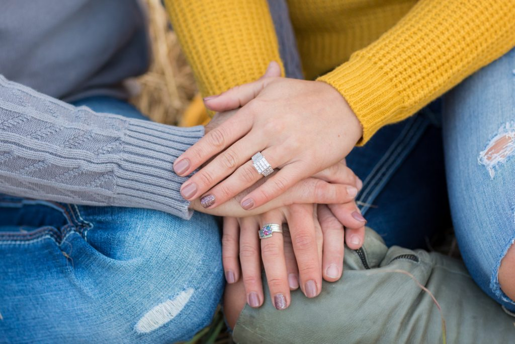 Engagement Portraits with detail photo of wedding rings