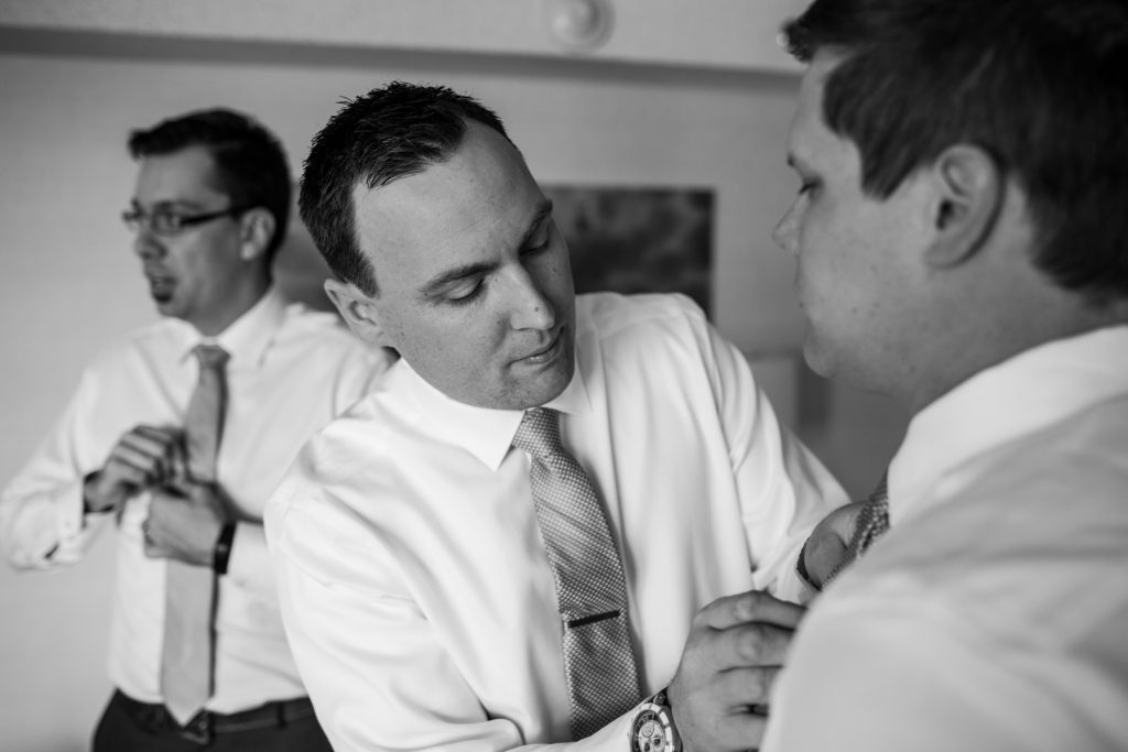 The groom getting ready for his Mosaic Centre Wedding