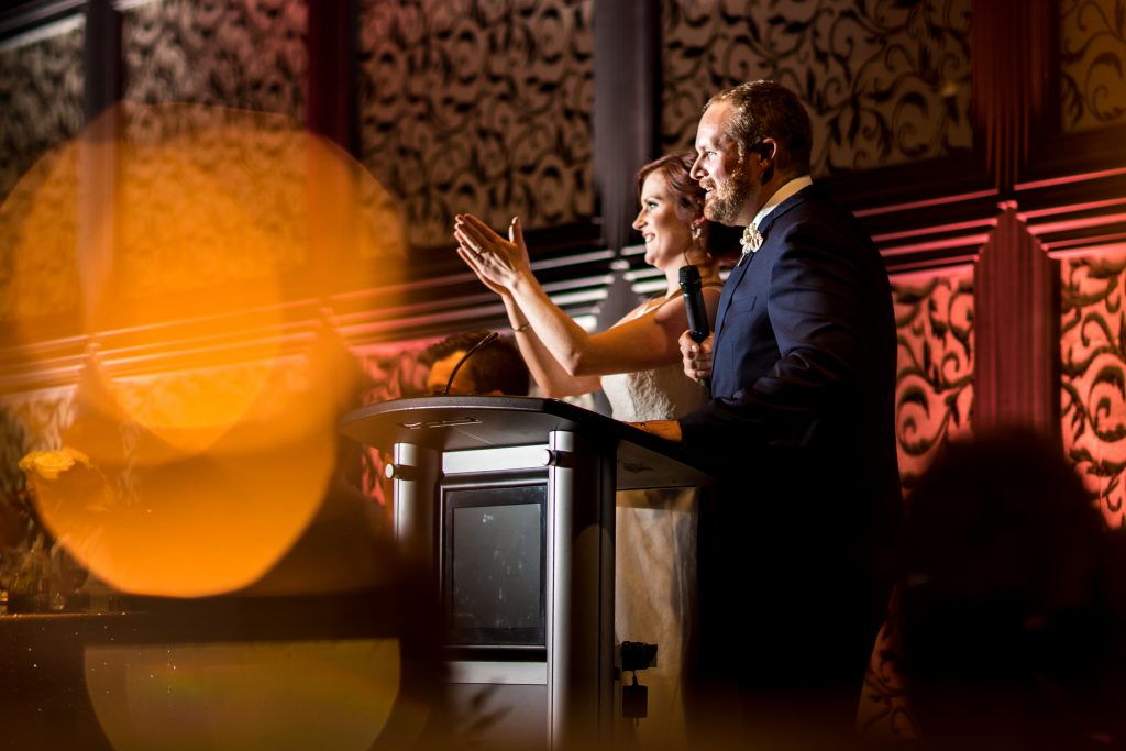 Bride and groom thank you speech during wedding reception