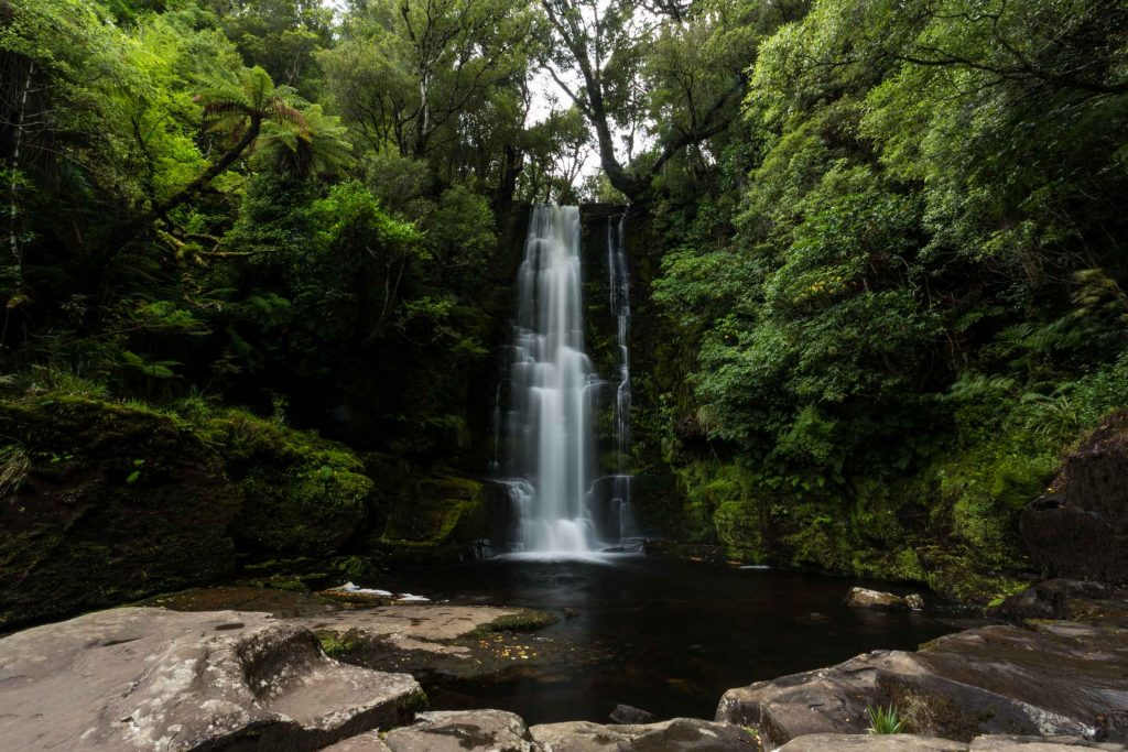 long exposure picture of McLean Falls on the Tautuku River in Catlins Forest Park