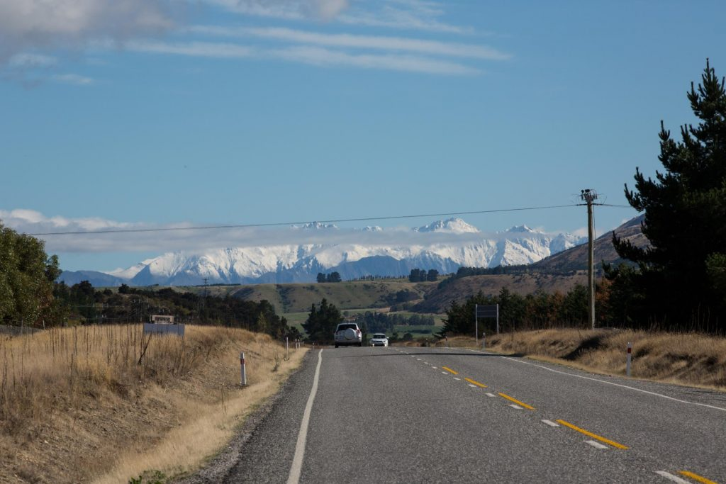 new zealand mountains road driving