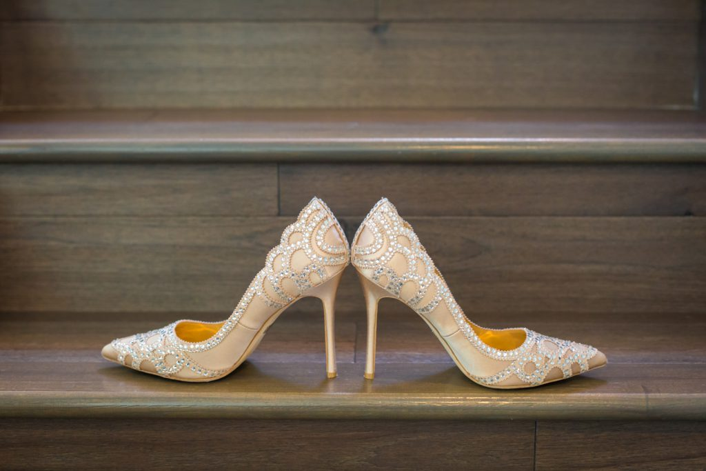 Detail photo of the brides wedding shoes