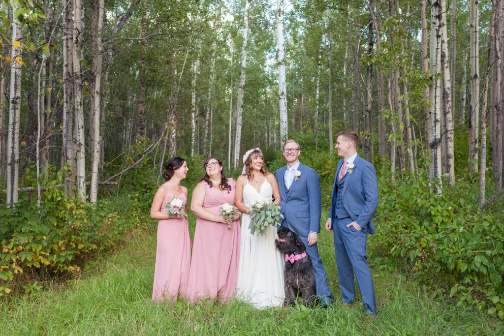 blue and pink wedding party