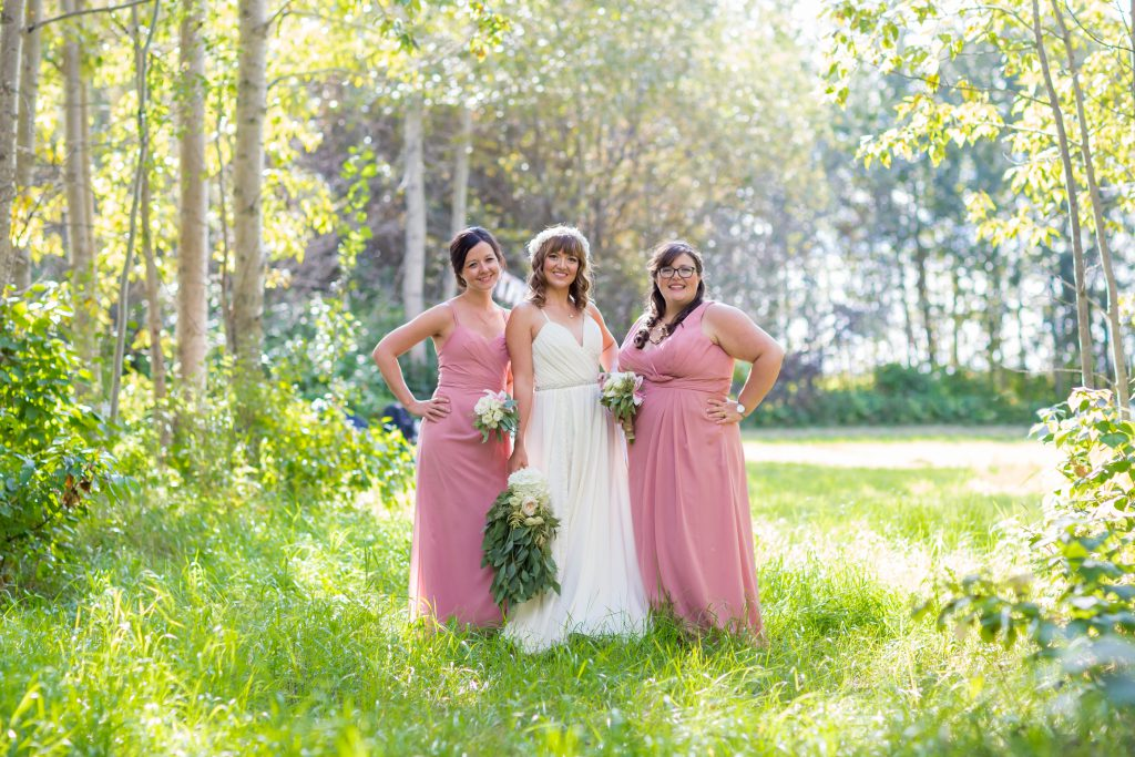 pink and white bridesmaids dresses for country wedding