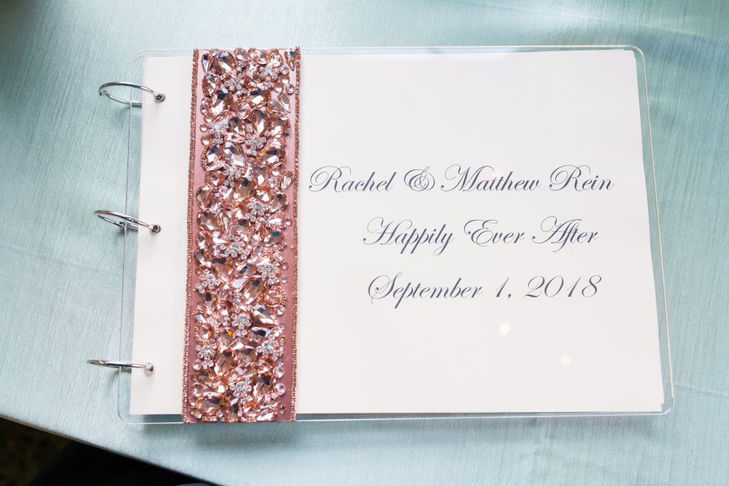 blush and gold wedding guest book