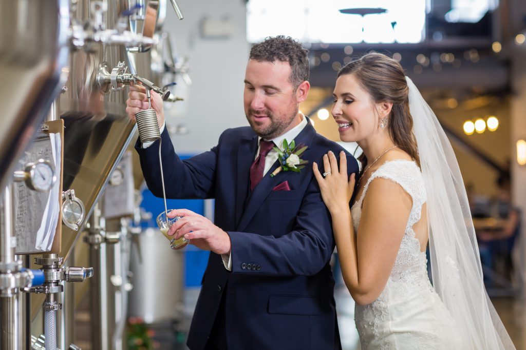 brewery and beer themed wedding photos