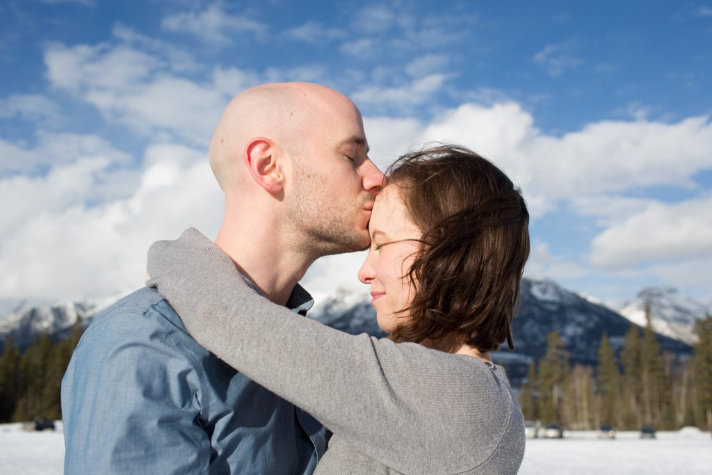 mountain engagement photos in the winter
