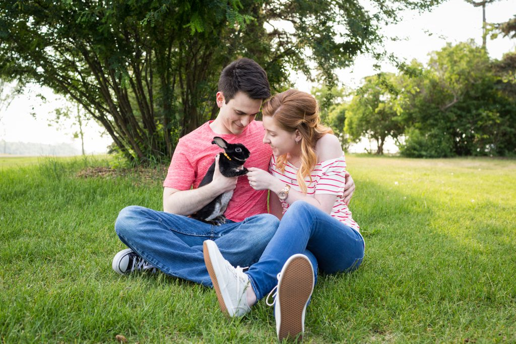 engagement photos with bunny