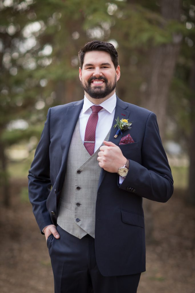 navy and burgundy wedding suit