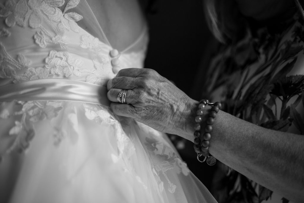 country wedding dress details