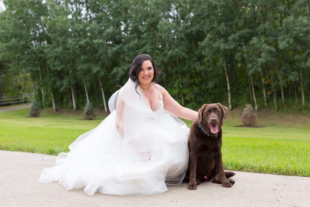 photo of bride and her dog