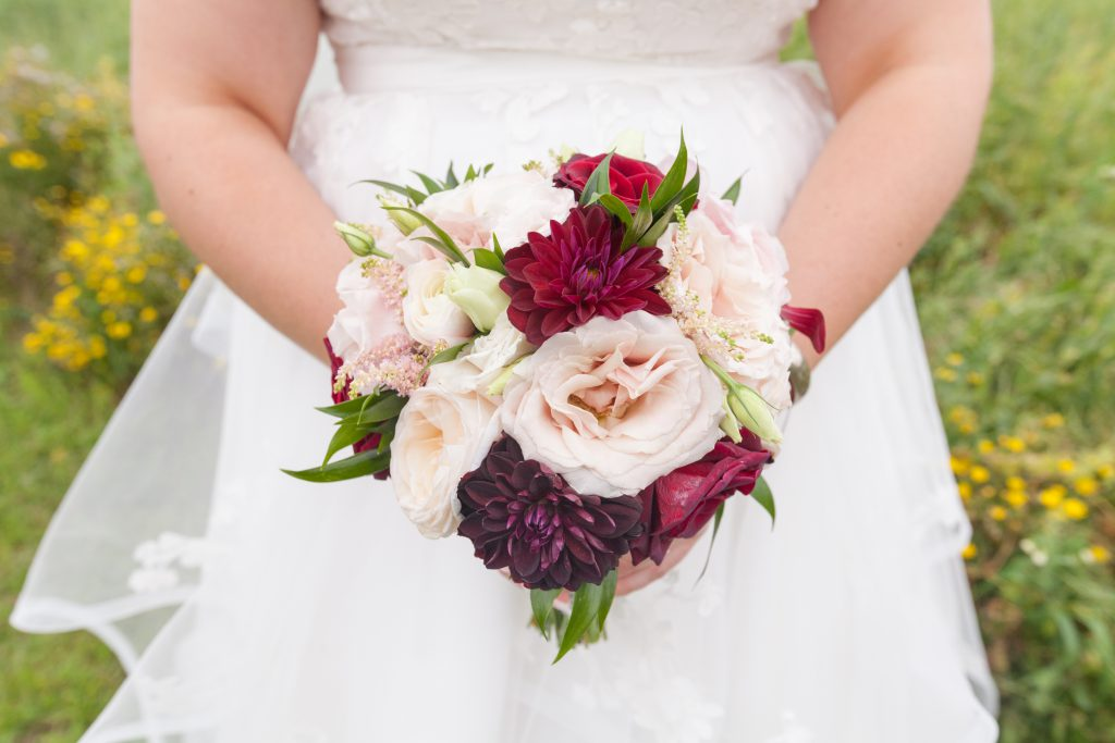 red and pink dahlia bouquet