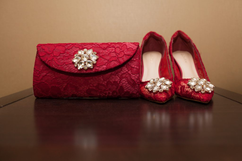 red lace wedding details