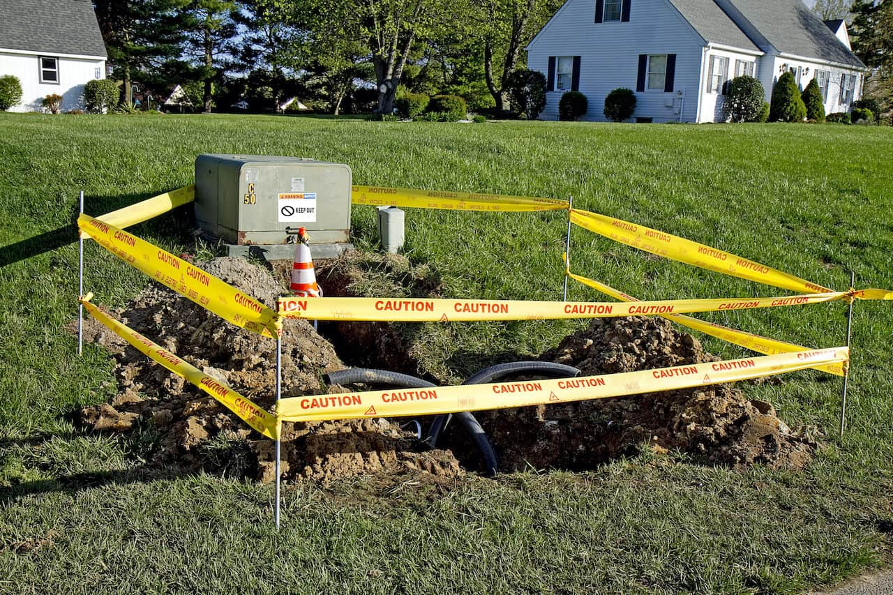 Lawn with Gas pipes Exposed